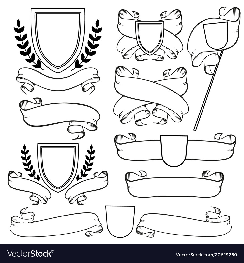 Heraldic ribbons and crest isolated outline vector image