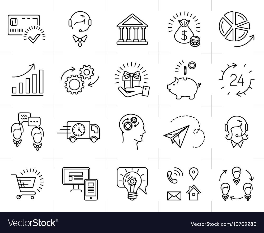 Market shop business line icon art Flat