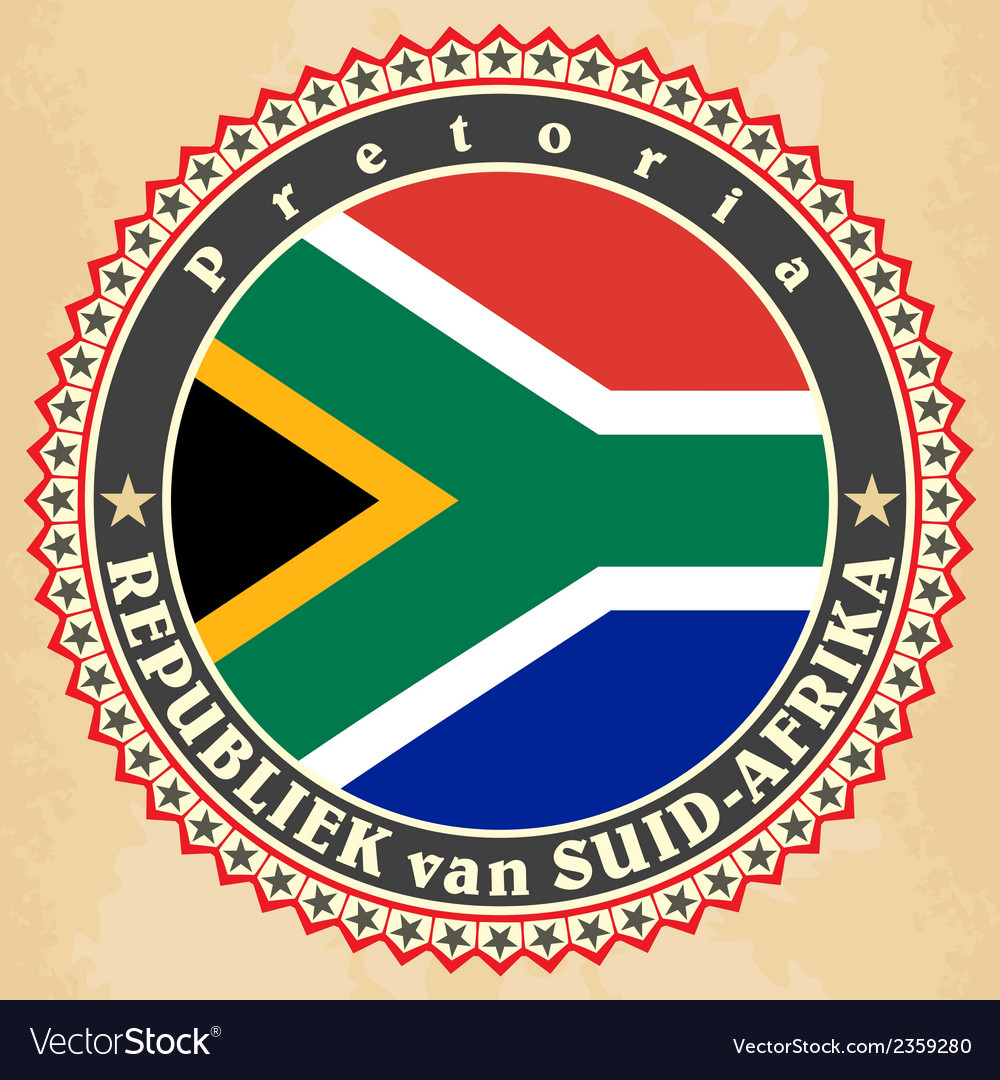 Vintage label cards of South Africa flag