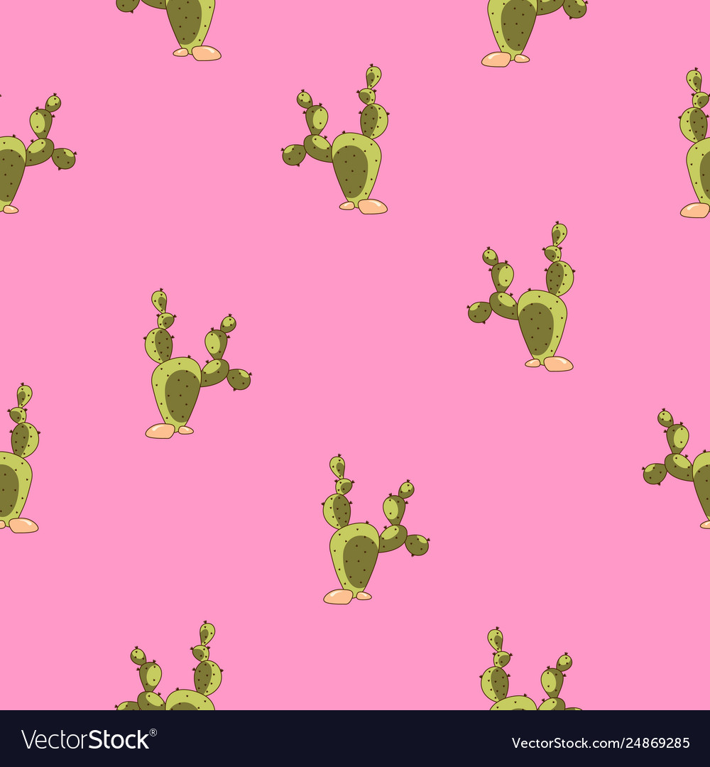 Cute cactus pattern on pink background