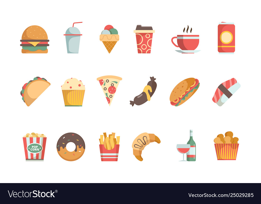 Fast food flat icons sandwich burger cold drinks