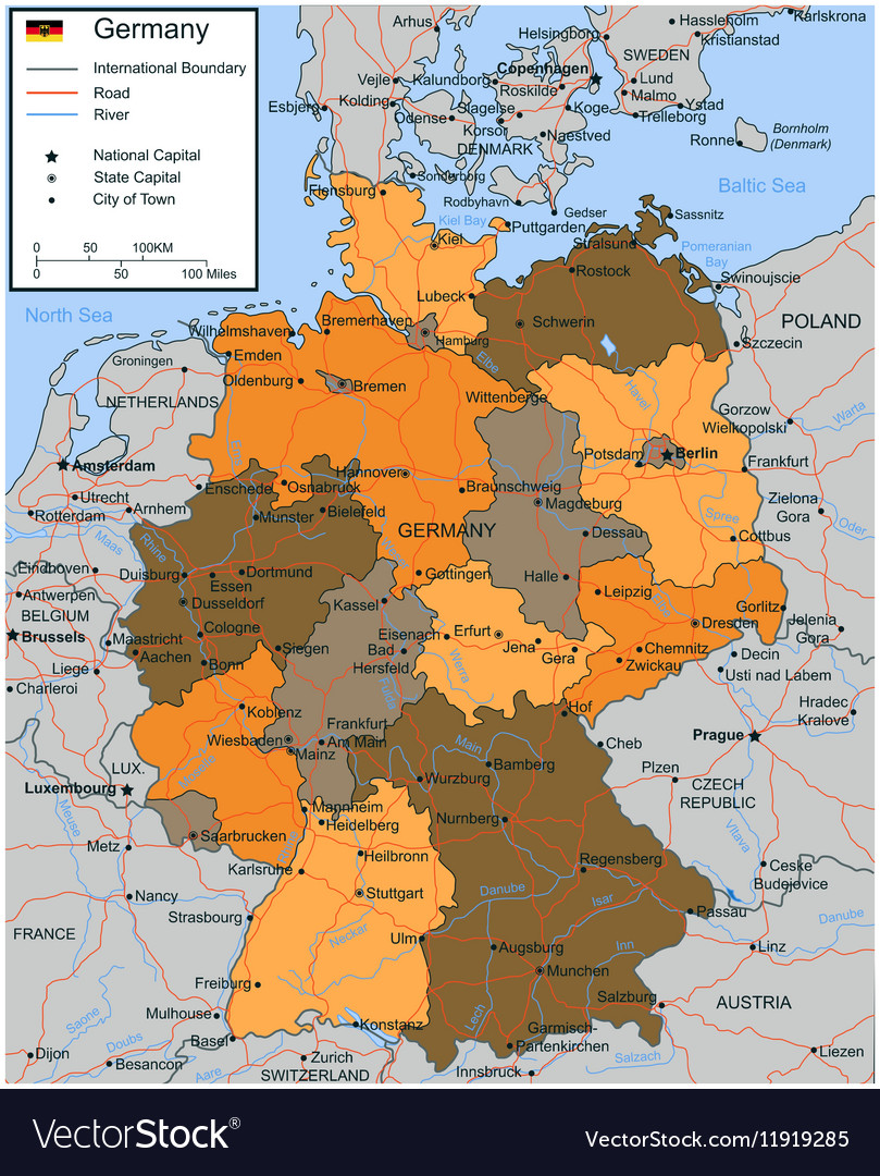 Germany Map With Selectable Territories Royalty Free Vector