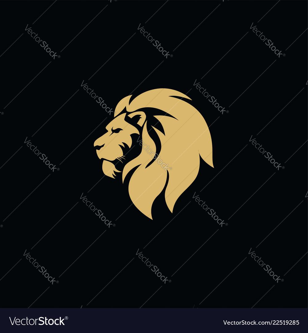 Gold lion head black background flat design