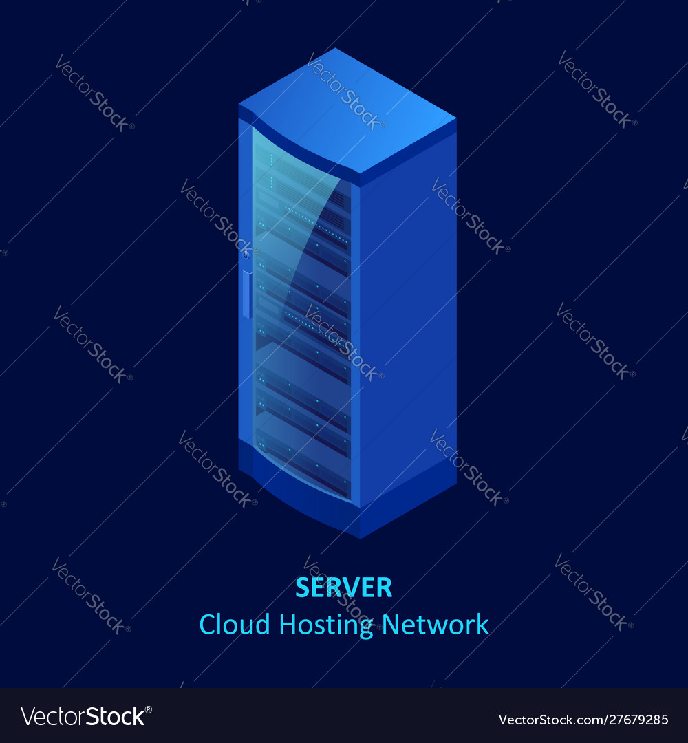 Isometric cloud server isolated on blue data