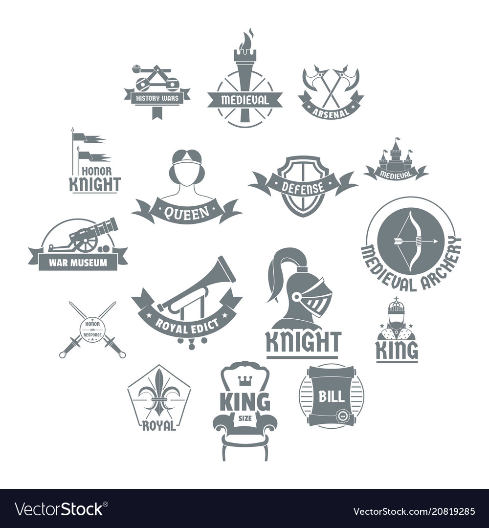 Knight Medieval Logo Icons Set Simple Style Vector Image