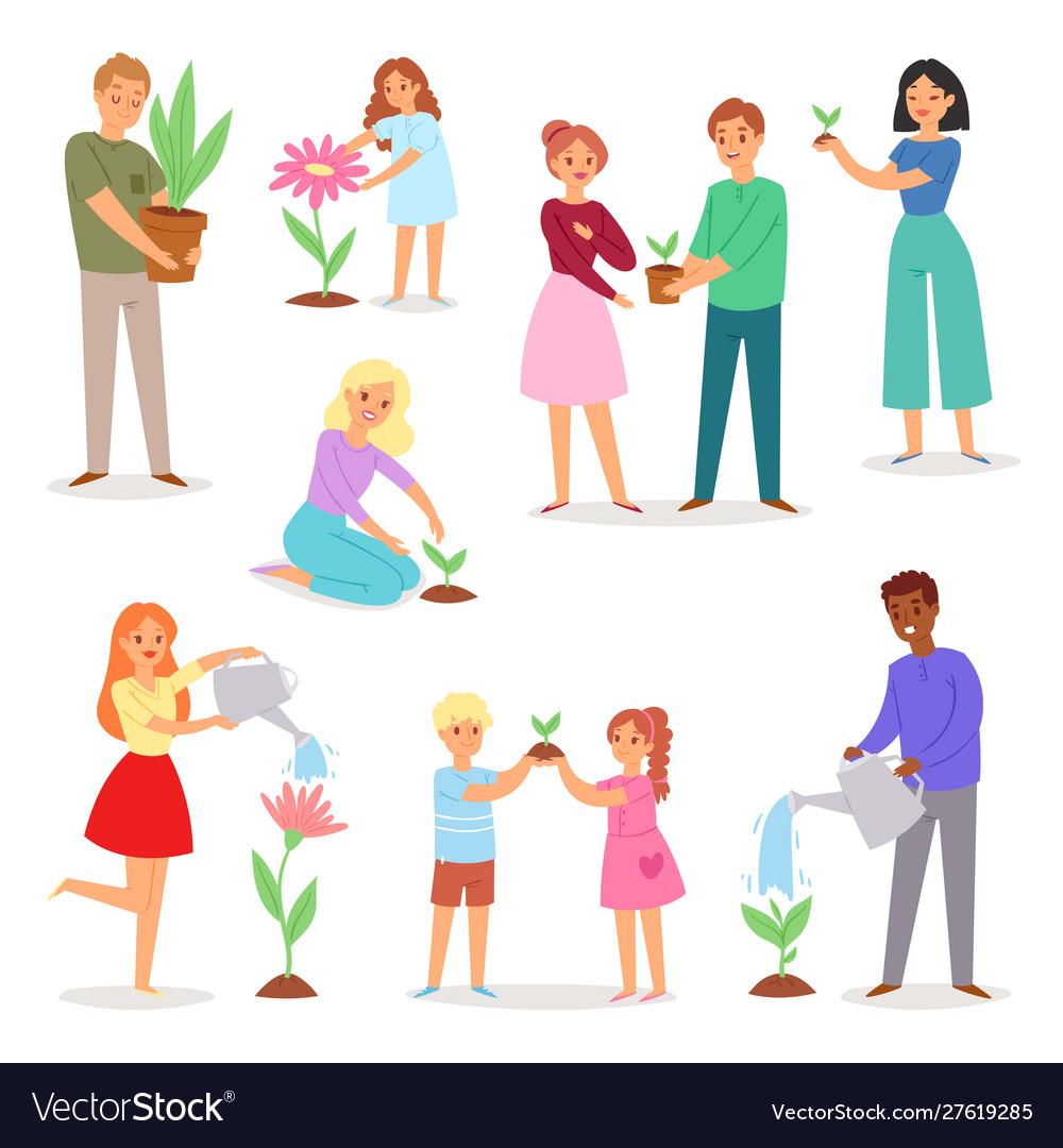 People planting man woman kids character