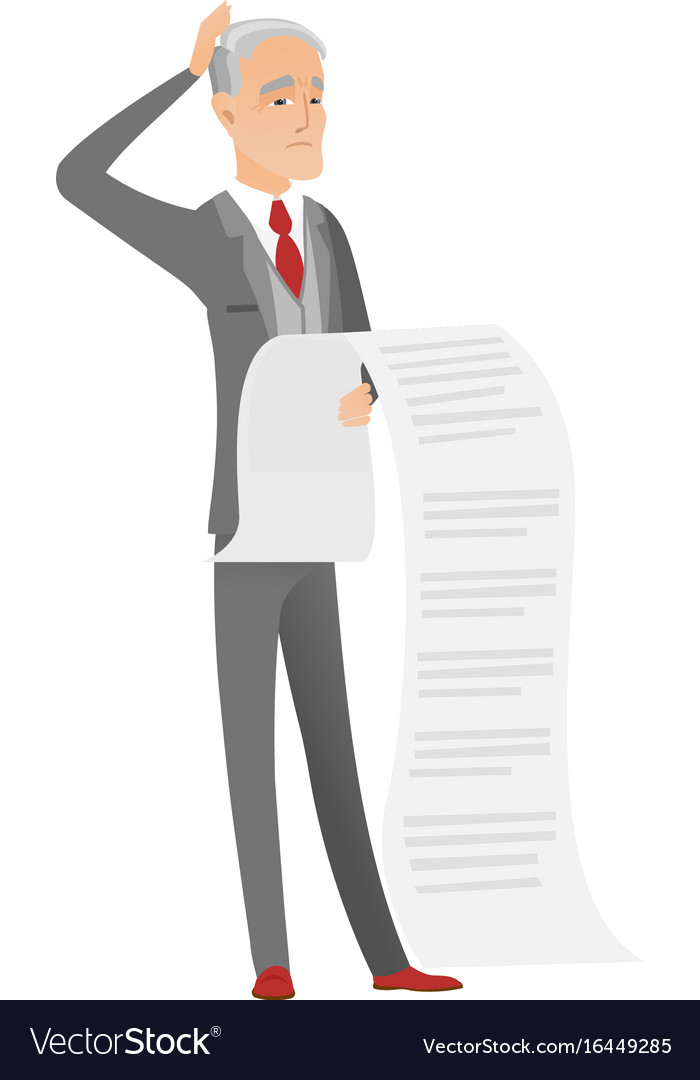 Senior caucasian accountant holding a long bill vector image