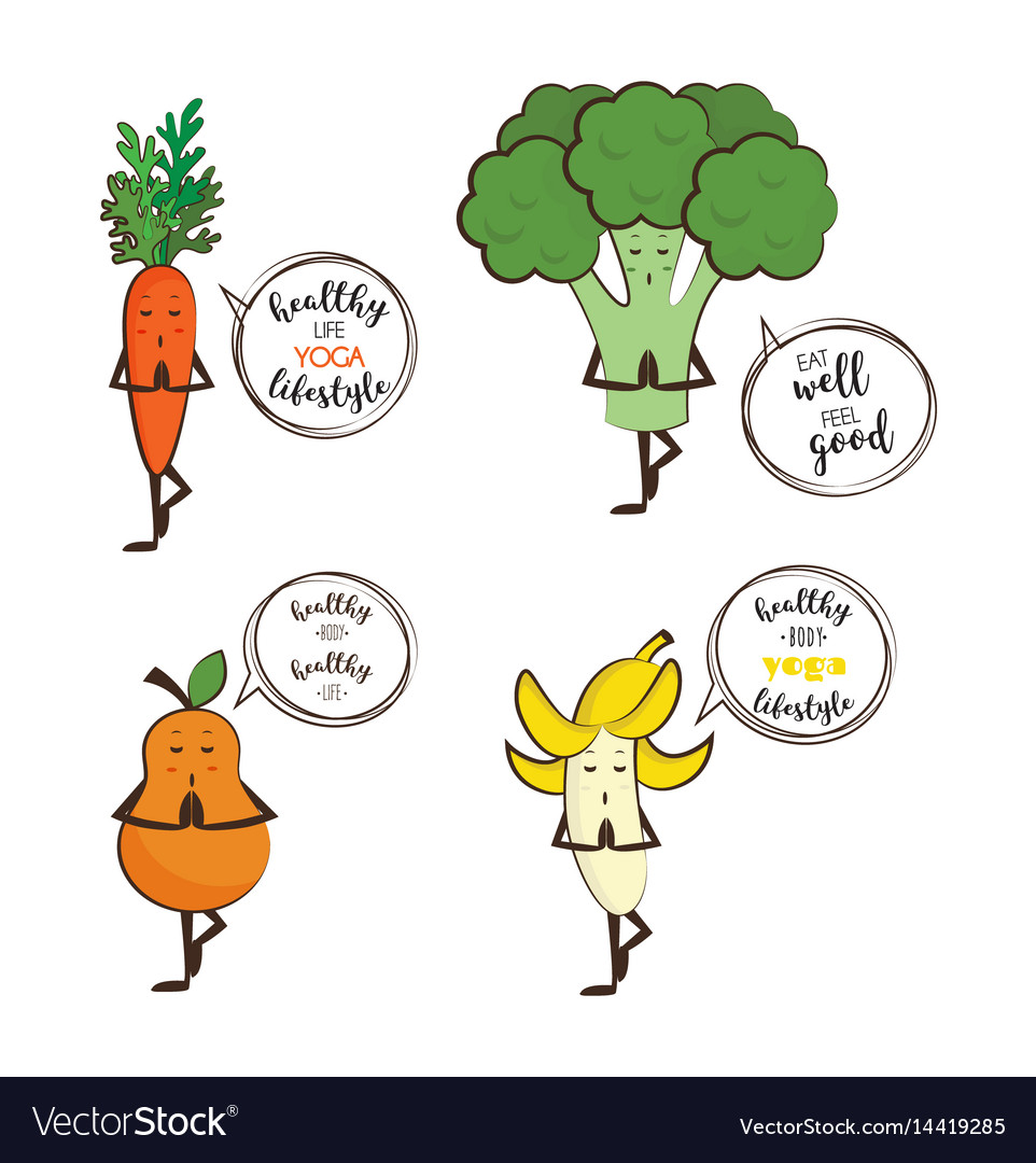 Set of cute fruits and vegetables doing yoga with