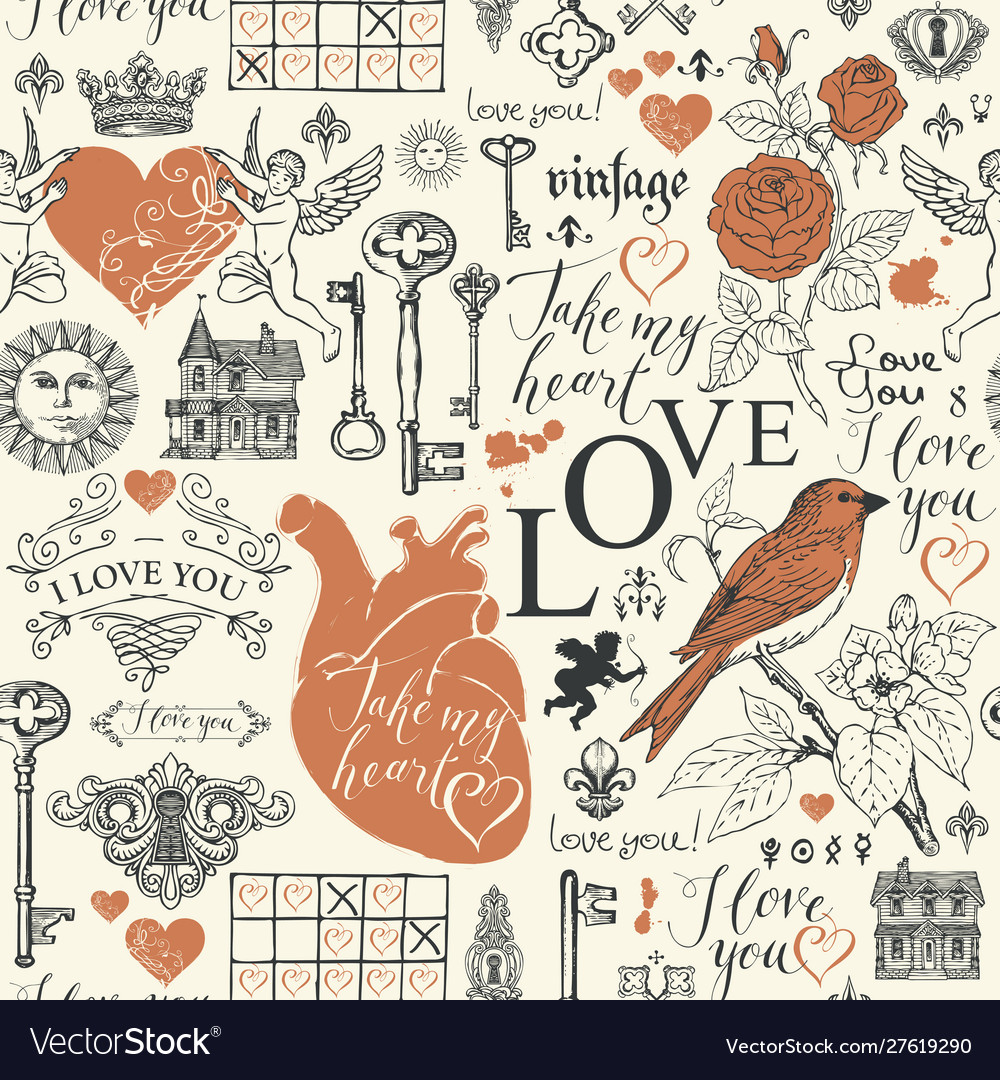 Abstract seamless pattern on love theme