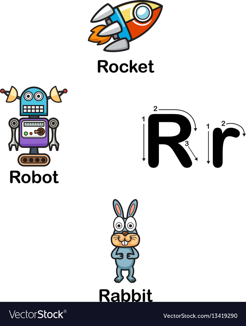 Alphabet letter r-rocket robot rabbit