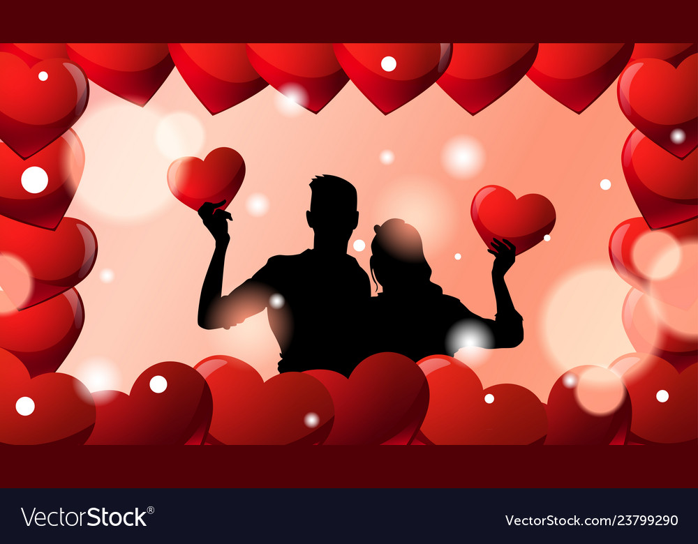 Black silhouette couple embracing over valentines