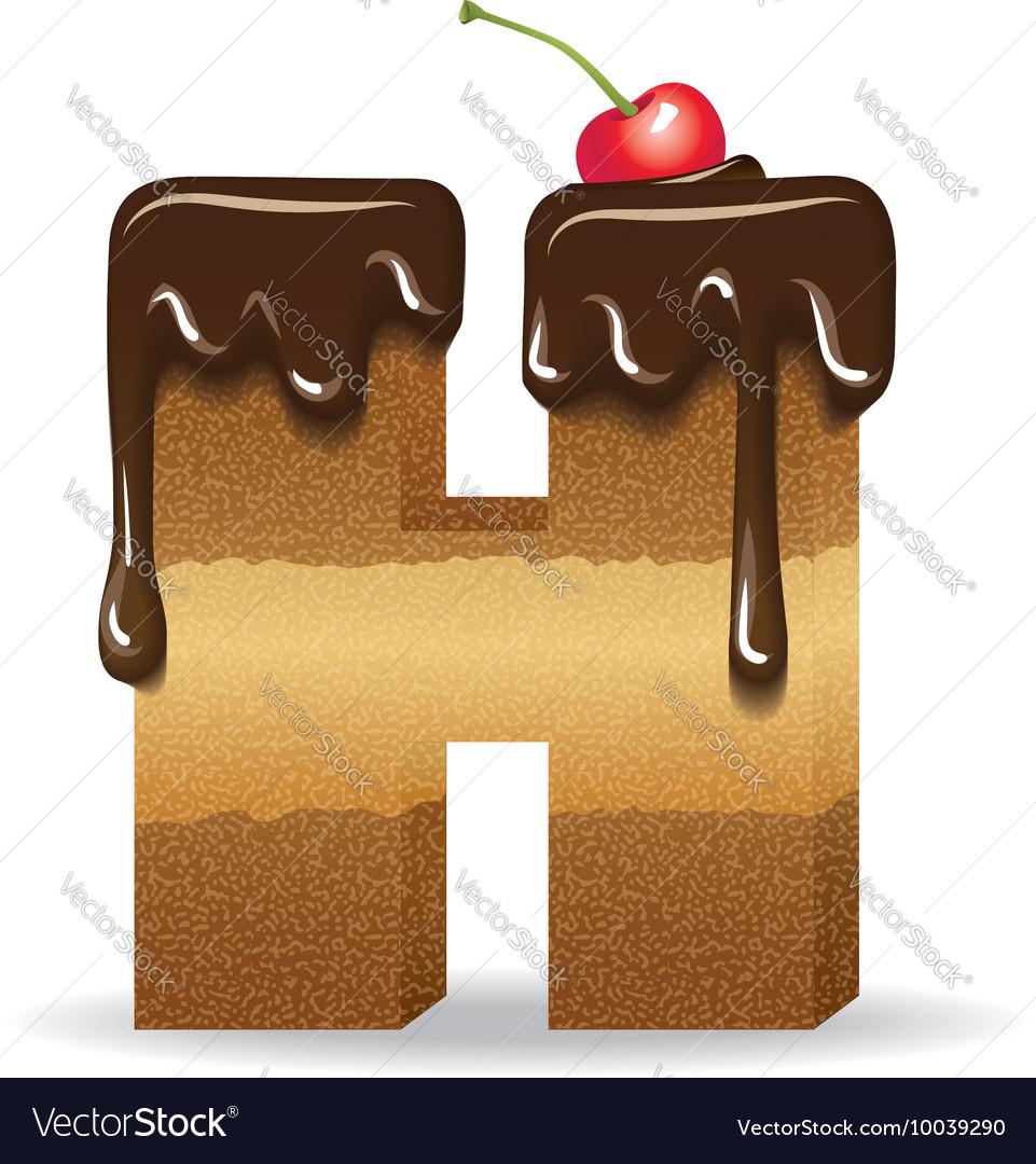 cake letter h birthday font vector image