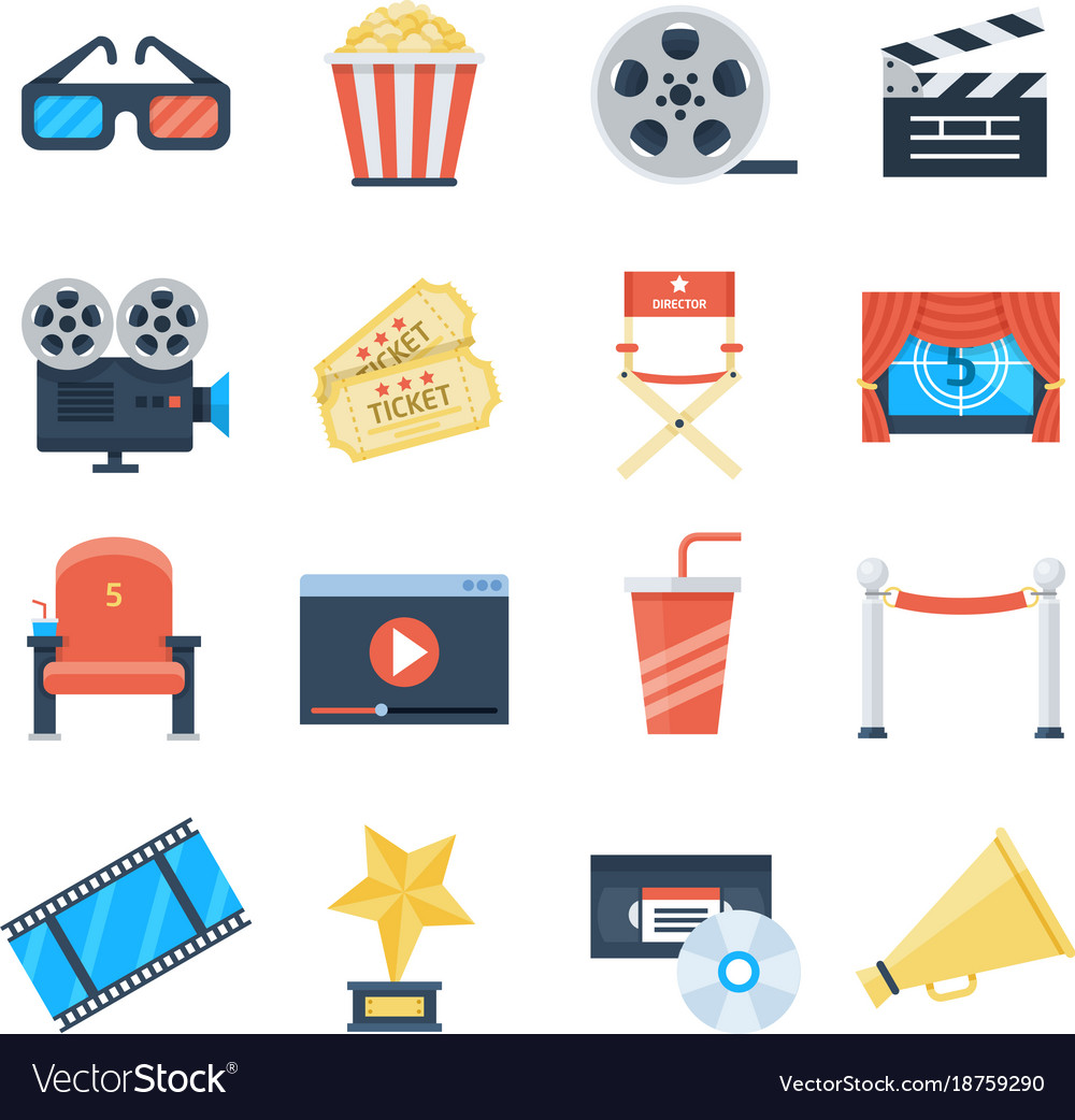 Cinema icons in a flat style