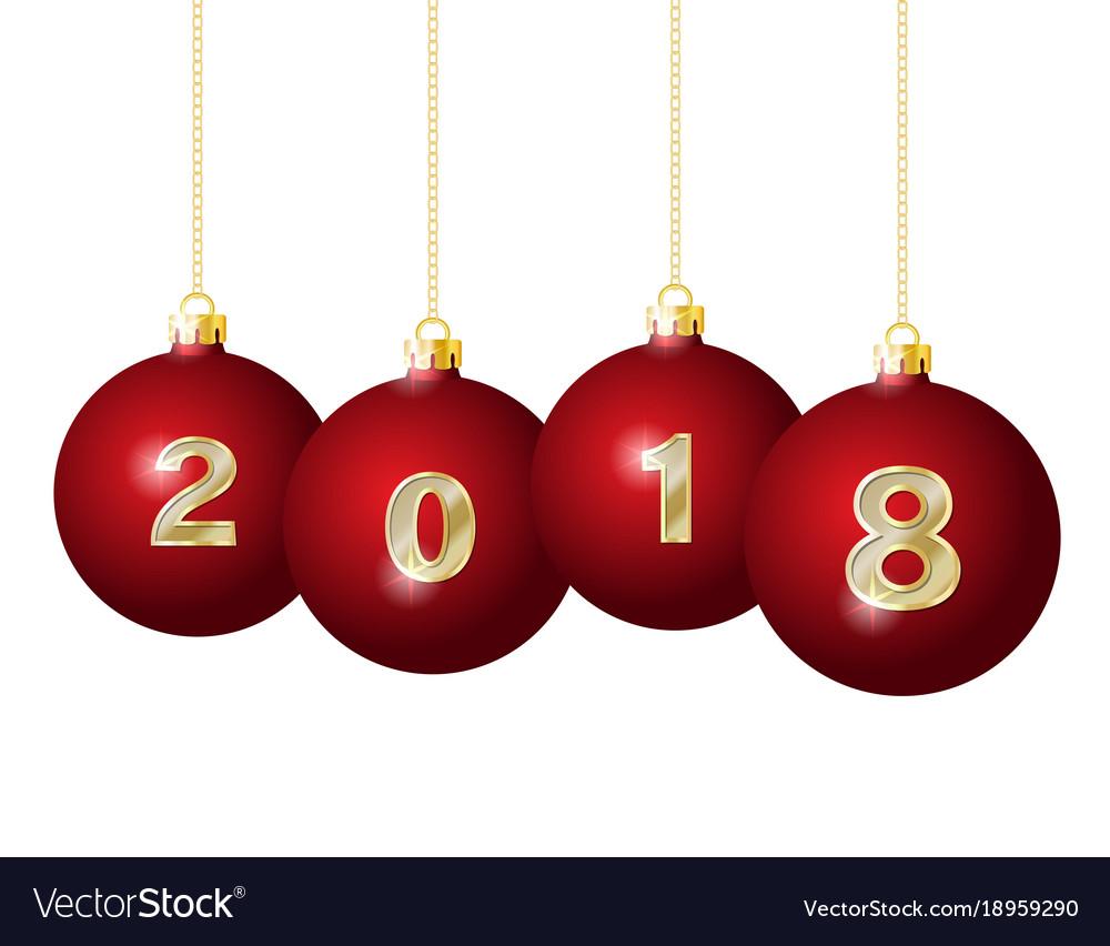 glass christmas balls 2018 vector image - Glass Christmas Balls