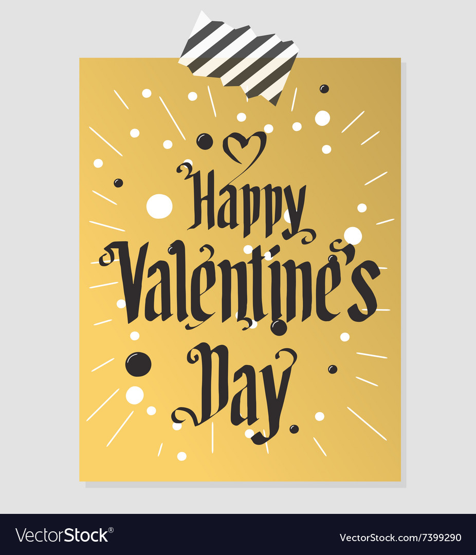 Happy Valentines Day gold and black greeting card