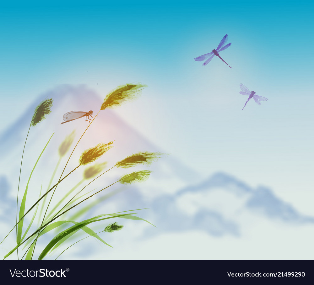 Landscape with green grass dragonflies and