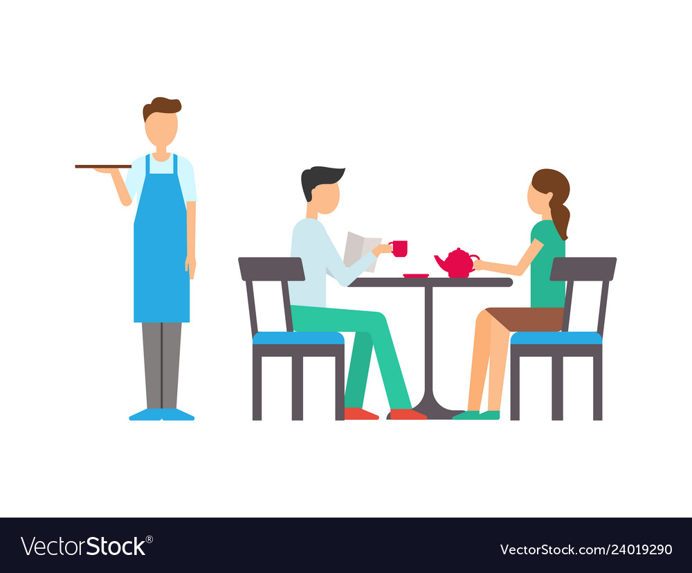 Man and woman in cafeteria waiter service