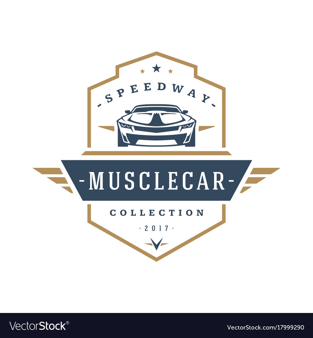 muscle car logo template design element royalty free vector