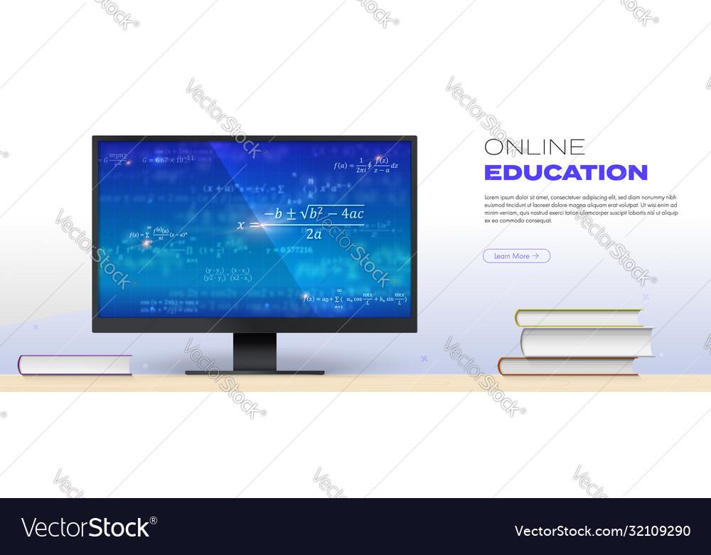 Online education concept math formulas on screen