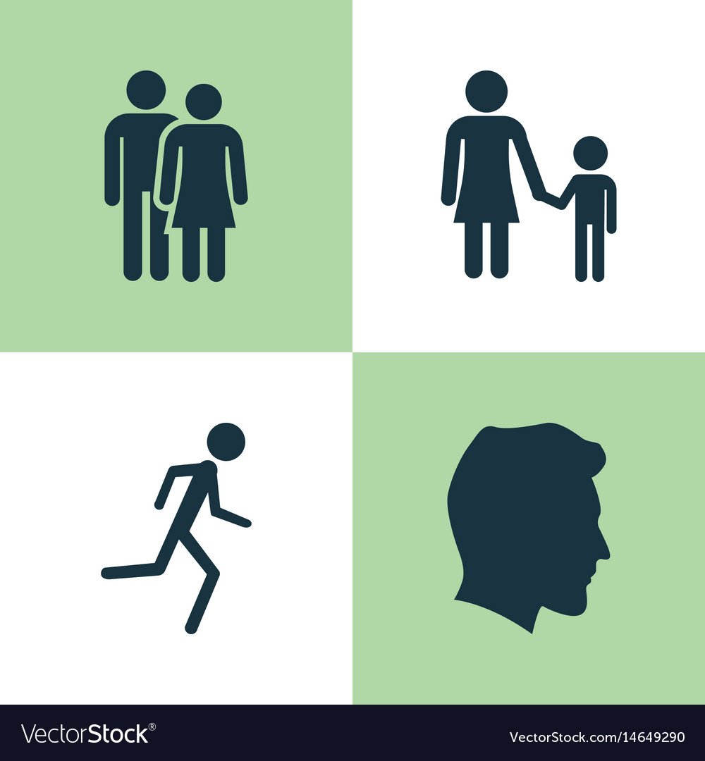 People icons set collection of running male vector image