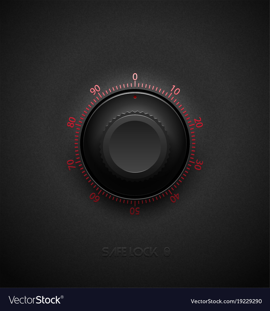 Realistic black combination safe lock volume vector image