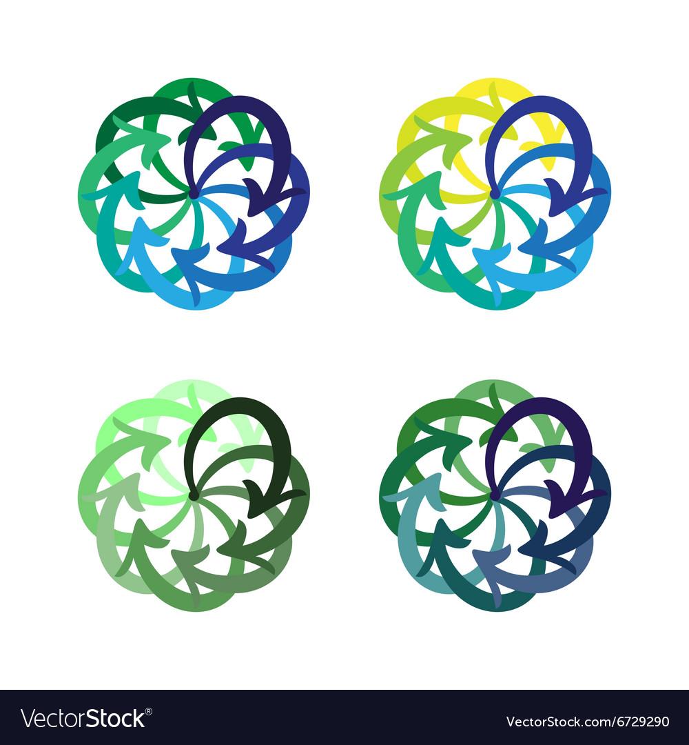 Set colorful arrows circle diagram