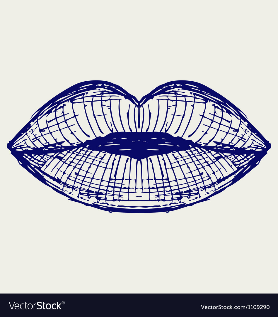 Woman lip mouth kiss vector image