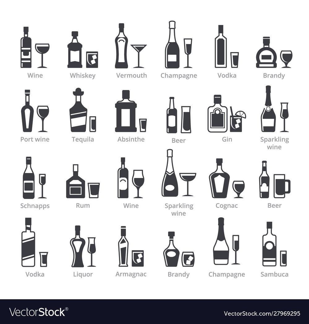 Alcohol bottles black glyph icons