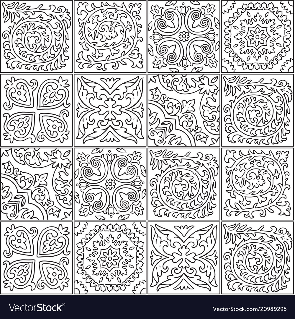 Black and white morocco mosaic design abstract