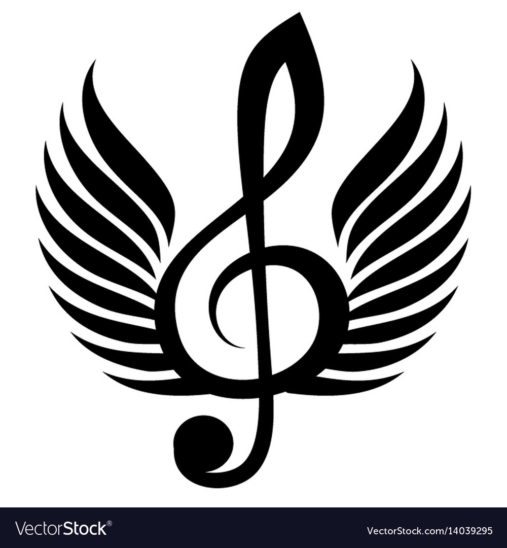Black treble clef with wing