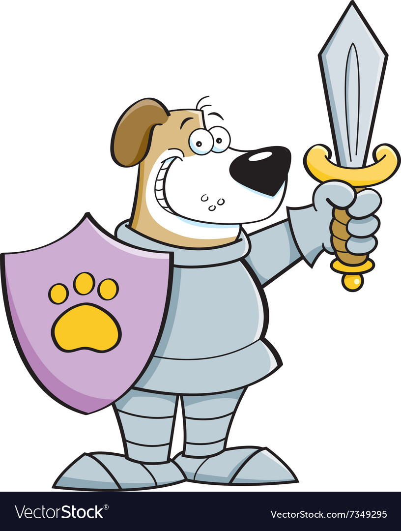 Cartoon dog in a suit of armor