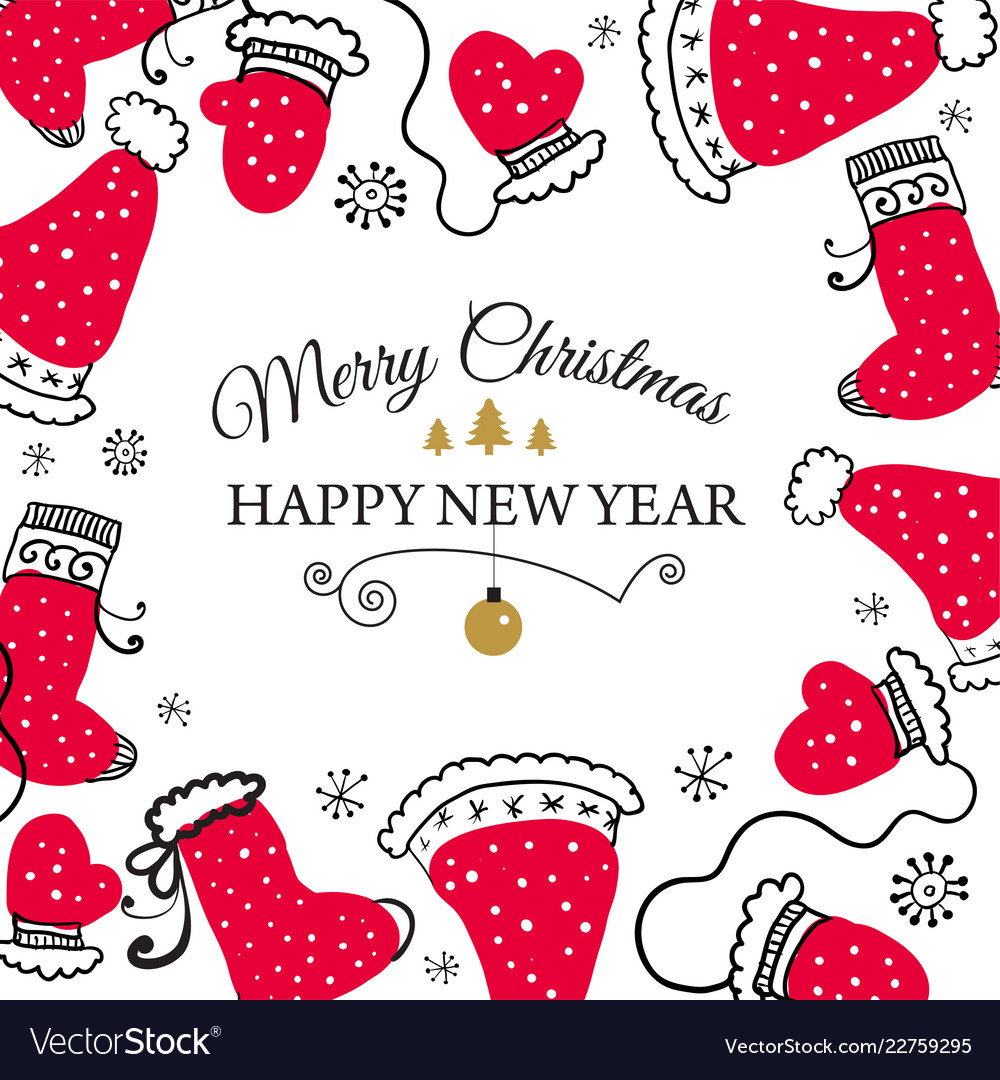 Christmas postcard with design elements in doodle