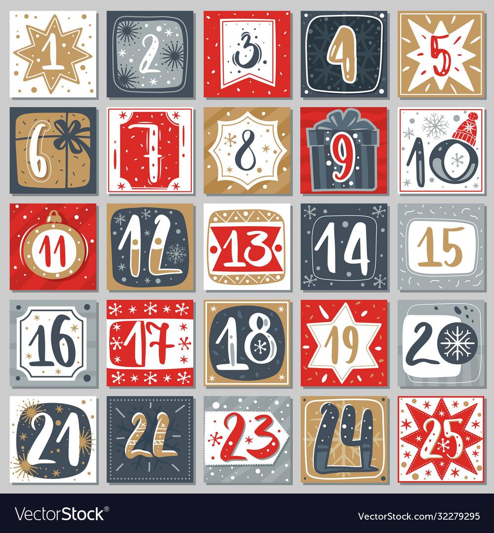December advent calendar christmas poster