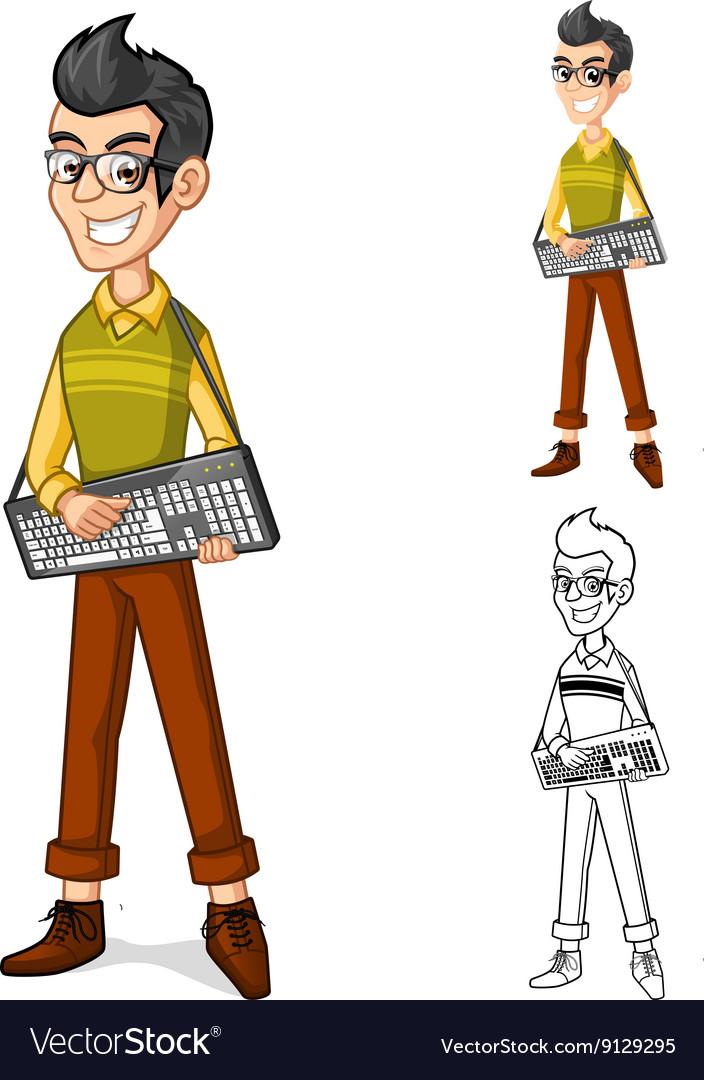 Geek Holding a Computer Keyboard