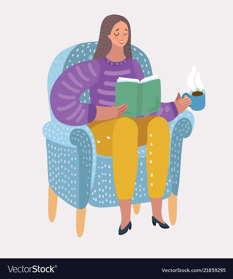 Girl reading book on arm-chair