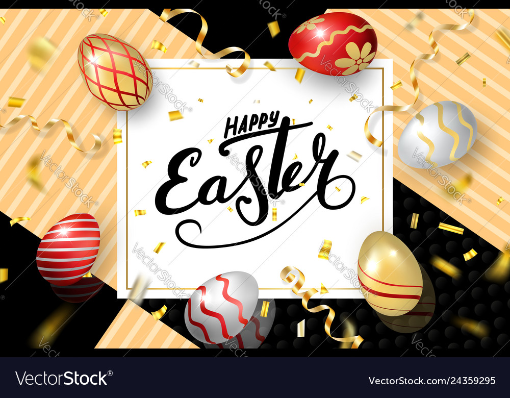 Happy easter background lettering eggs greeting