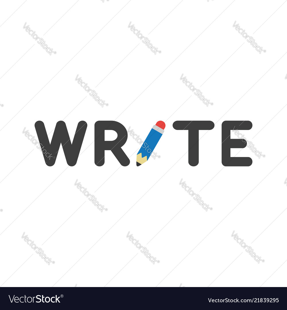 Icon concept of write word with pencil