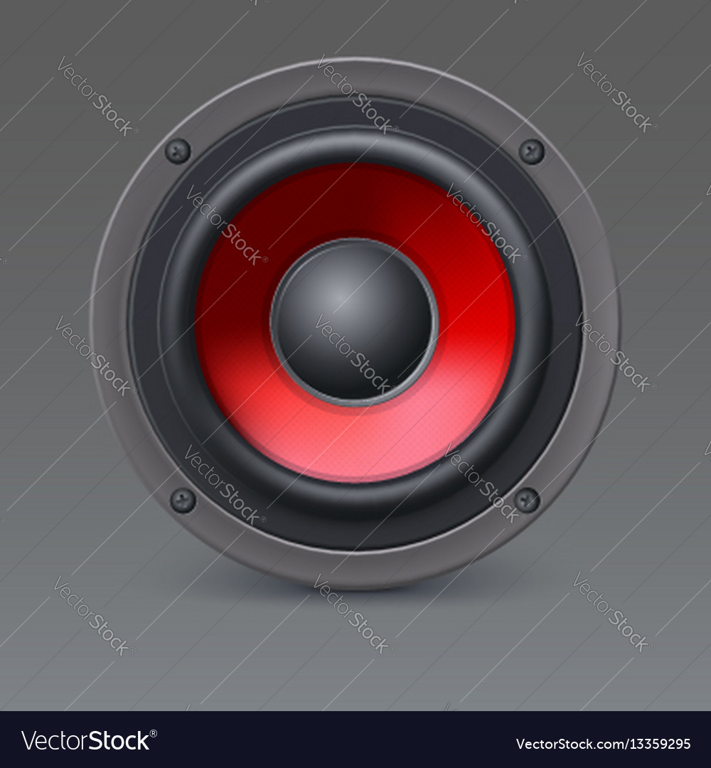 Loud speaker with red diffuser isolated on gray