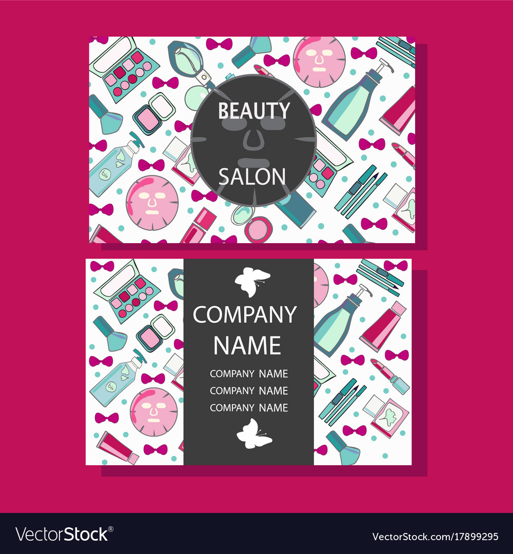 Makeup care cute design of business cards for vector image reheart Choice Image