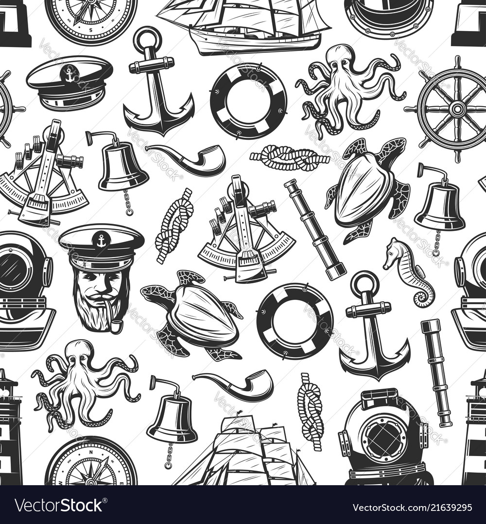 Marine nautical seamless pattern background