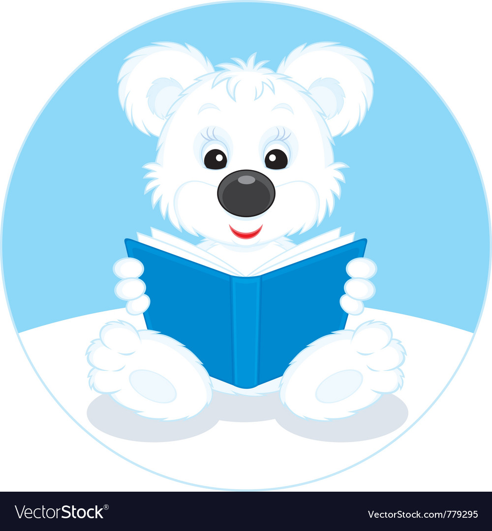 Polar bear cub reading a book vector image