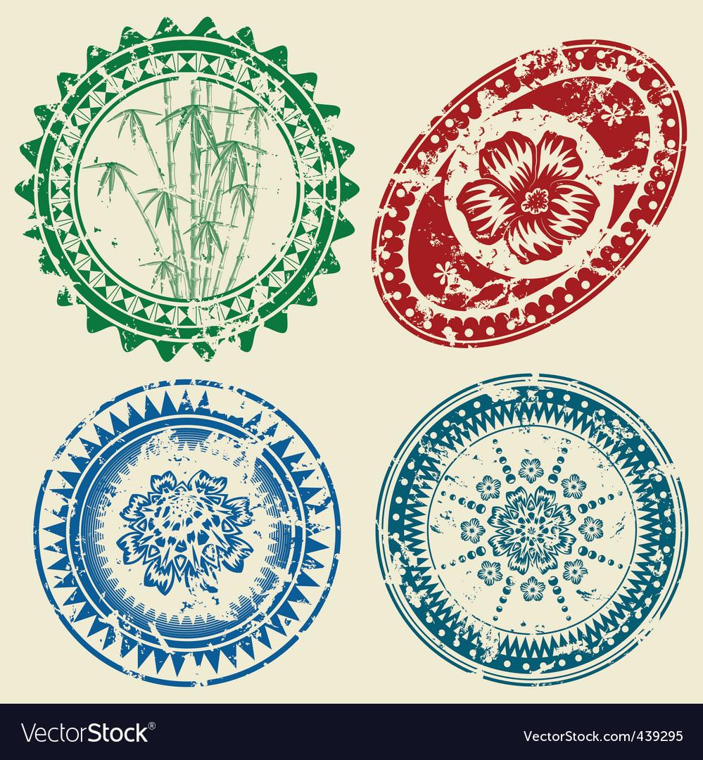 postcard stamp set royalty free vector image vectorstock