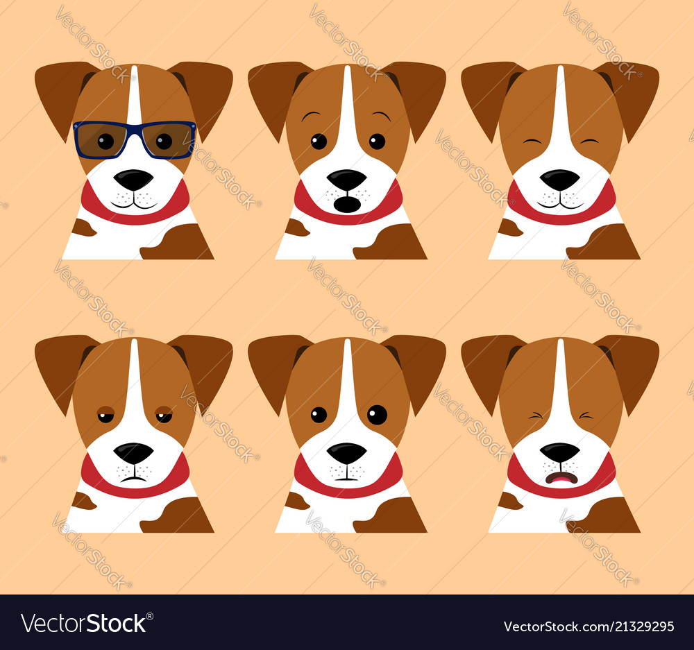 Set isolated emotion puppy dog collection