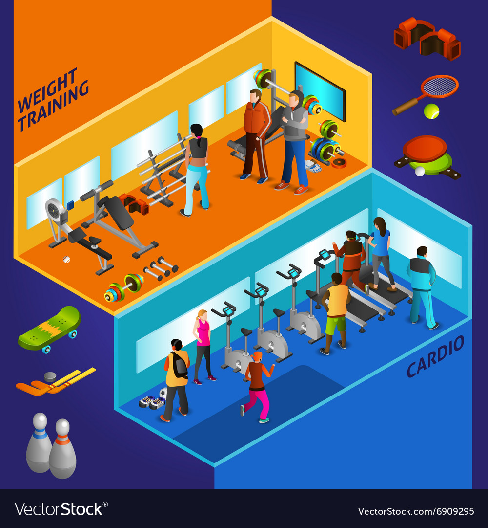 Sports Equipment Athletes Isometric Compositions vector image