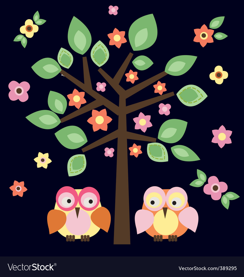 Owls In Love. Tree Owls In Love Vector