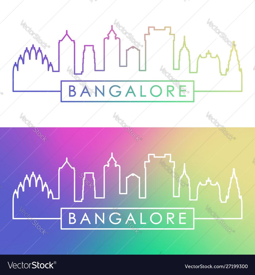 Bangalore skyline colorful linear style editable