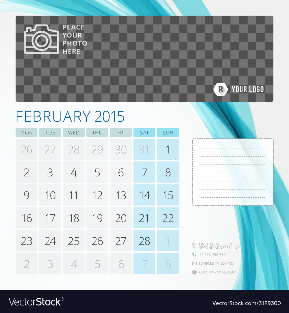 Calendar 2015 February Template With Place For Vector Image