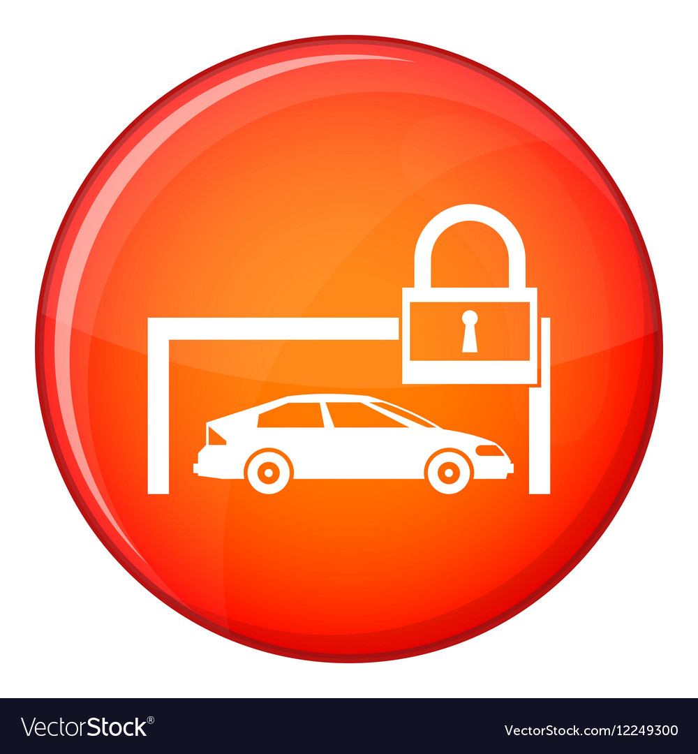 Car and padlock icon flat style vector image