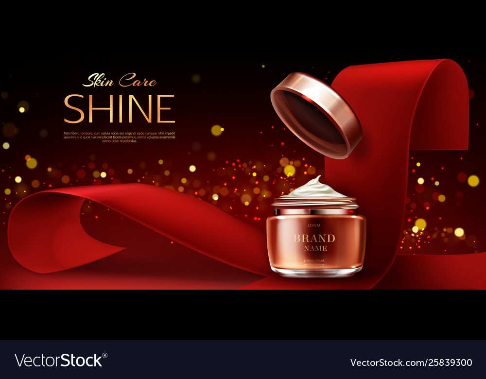 Cream Jar Cosmetics Skin Care Product Banner Vector Image