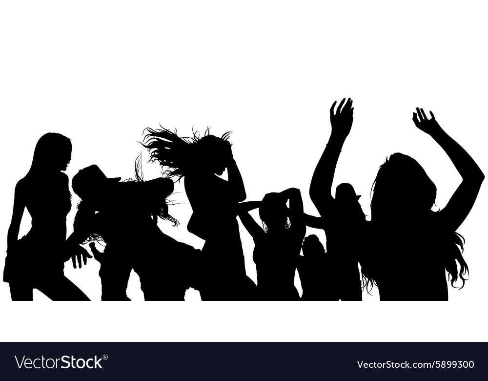 Dancing Crowd Silhouette Royalty Free Vector Image Free for commercial use no attribution required high quality images. vectorstock